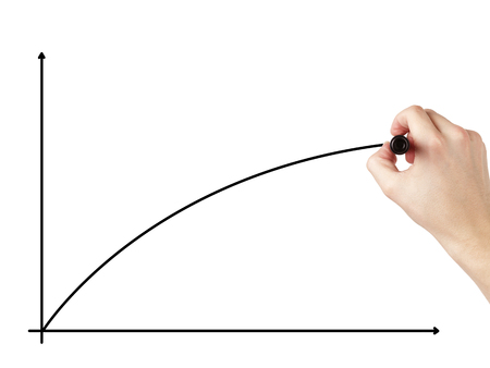 adult male hand draw a positive curve, isolated on white photo