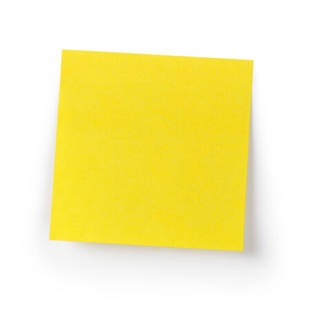 empty yellow sticky note, isolated on white background photo