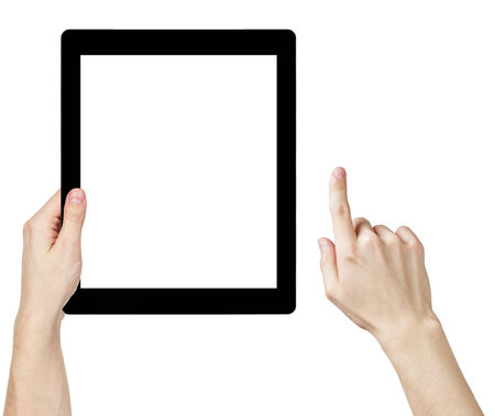 adult man hands using generic tablet pc with white screen, isolated on white photo
