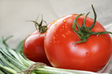 fresh vegetables on napkin, rustic style photo photo