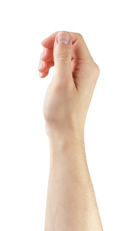 adult man hand to hold something, isolated on white Stock Photo