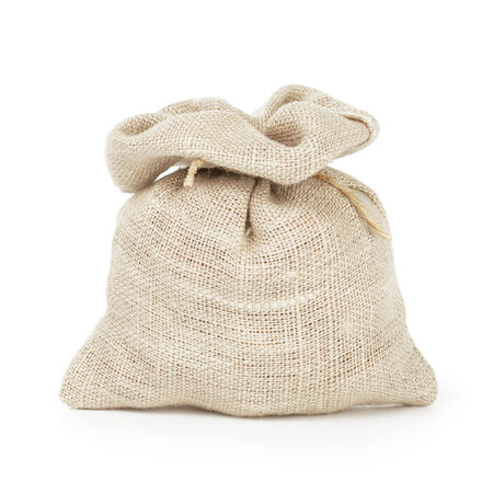 small sack bag for coffee or money, isolated on white photo