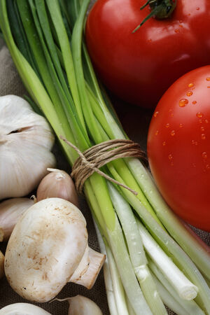 bulb and stem vegetables: background from fresh vegetables, close up