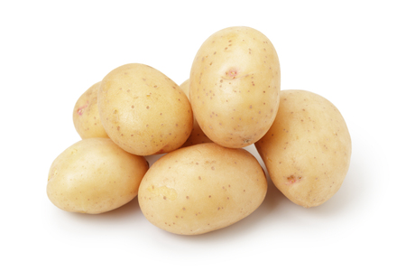 small group of objects: heap of baby potatoes, isolated on white background
