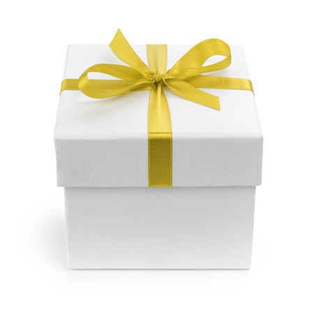 white gift paper box with yellow ribbon bow, isolated on white photo