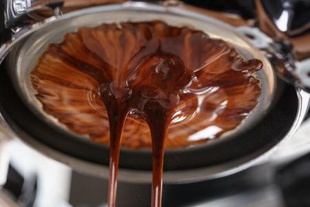밑 필터 에스프레소 커피 추출, 가까이