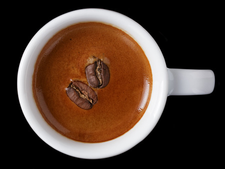 miror: simple cup of freshly made double espresso, on black background with reflection Stock Photo