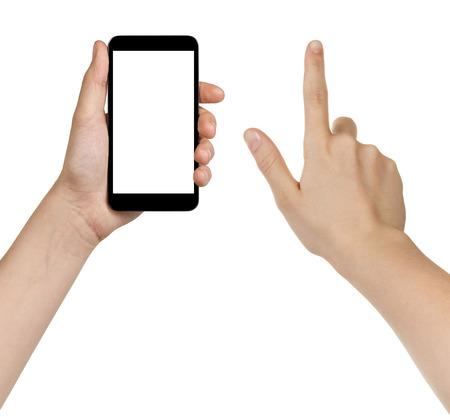 흰색에 고립 된 일반 smarpthone를 사용하여 여성 십대 손,