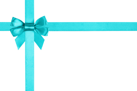 turquoise blue ribbon bow for packaging, white background Stockfoto