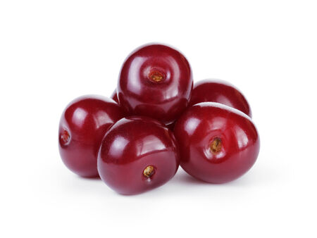 sour cherry: ripe cherries without stems, isolated on white background