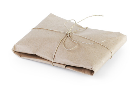 small post packet vintage style parcel, isolated on white photo