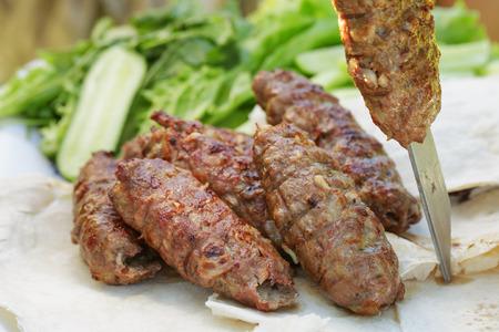 kabab: traditional shish kebab from lamb meat, outdoor food
