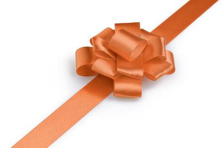 ribbon bow: orange ribbon bow angle photo, white background