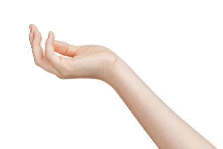 Vrouwelijke tiener hand om iets, geïsoleerd op wit te houden Stockfoto - 30987891