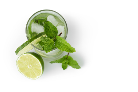 white background: fresh classic long drink mojito, isolated on white background