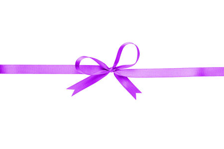 purple thin ribbon with bow, isolated on white photo