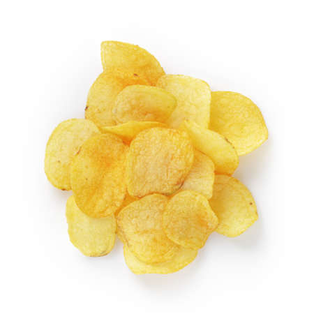 heap of potato chips with paprika, isolated on white Stock Photo