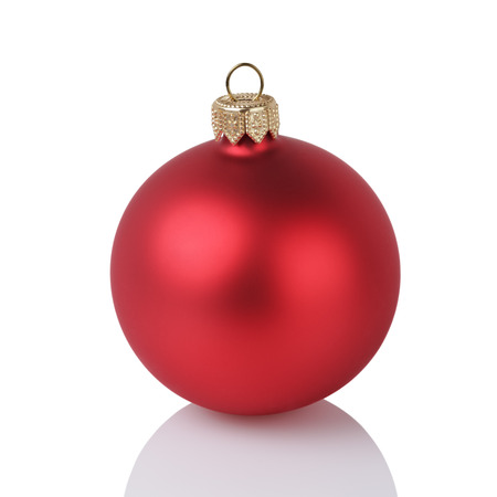 solid color: one solid red color christmas ball, isolated on white