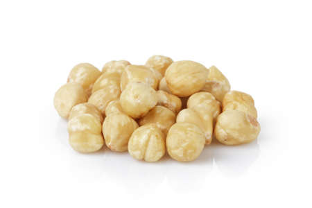 dry cleaned: peeled and cleaned hazelnut kernels, isolated on white