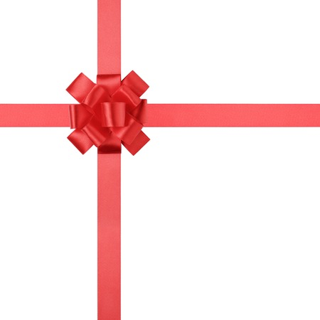 red ribbon bow: composition for present or goft with red ribbon bow, isolated on white