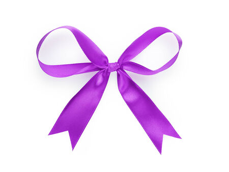violet thin ribbon bow, isolated on white photo