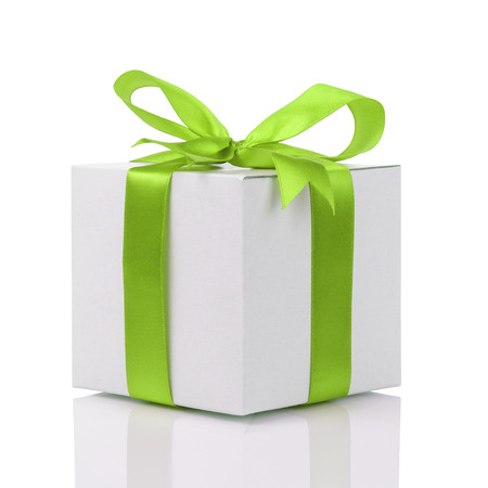 gift box with handmade green ribbon bow, isolated on white