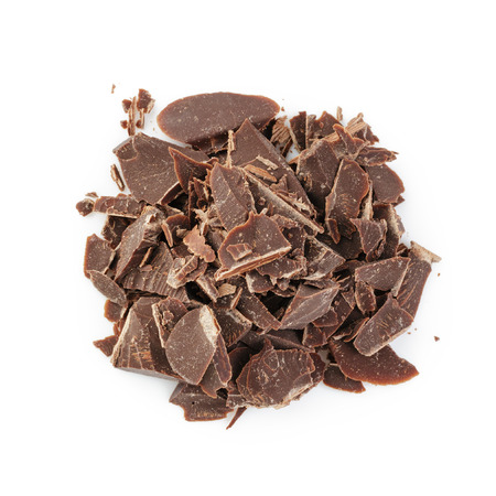 crushed: heap of crushed chocolate, from above on white background Stock Photo