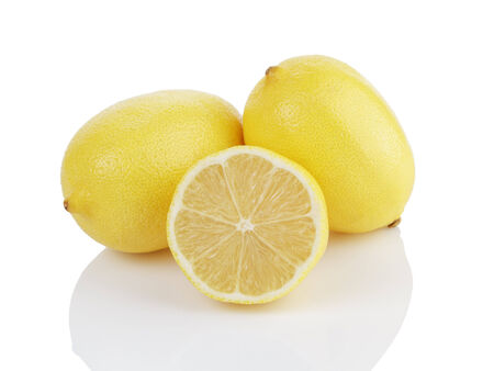 two and a half: two and a half lemons, isolated on white with reflection