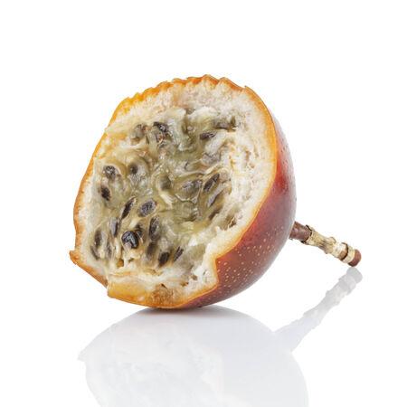 grenadilla: half of passion fruit granadilla, isolated on white Stock Photo