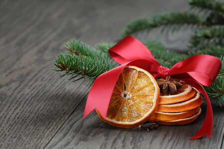 traditional christmas decorations, close up photo photo