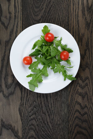 arugula and cherry tomatoes on plate, top view photo