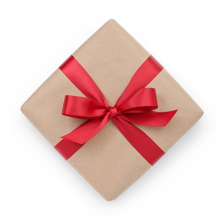 흰색 배경 위에서 리본 활 크래프트 종이 선물 상자 스톡 콘텐츠