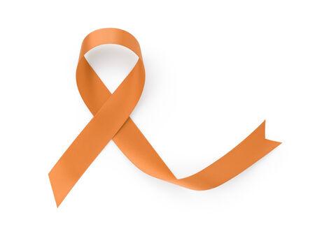 leucemia: awarness cinta naranja, aislado en fondo blanco