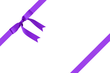 composition for packaging with classic purple ribbon bow, isolated on white photo