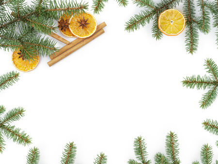 christmas background with cinnamon anise and oranges, white copy space photo