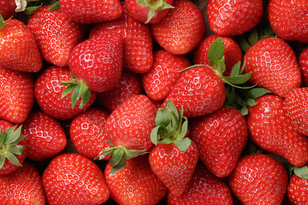 background from freshly harvested strawberries, directly above Standard-Bild