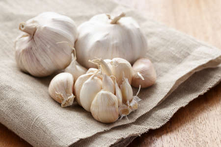 sack cloth: fresh organic garlic on sack cloth