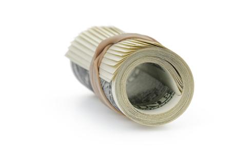 rubberband: laminados en billetes de cien d�lares atados con banda de goma Foto de archivo