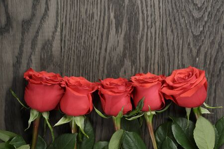 five petals: Romantic background with red roses on wood table