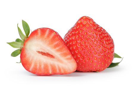Beautiful fresh strawberries digitally cleaned isolated on white