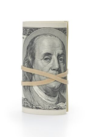 rubberband: bunch of hundred dollar bills tied with rubberband