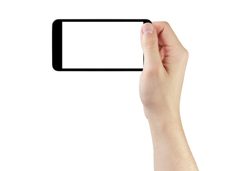 adult man hand taking photo with generic smartphone, isolated