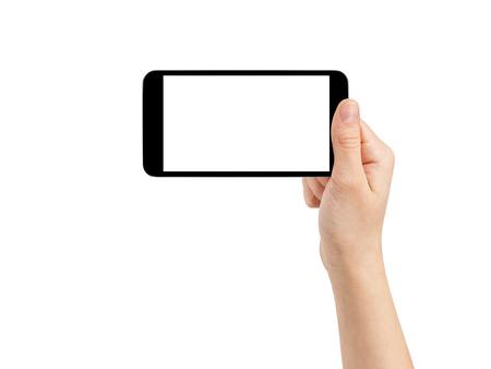 weiblichen Teenager Hand, die mit Foto generische Smartphone, isoliert Lizenzfreie Bilder