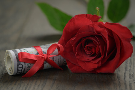 rubberband: single red roses and bunch of dollars