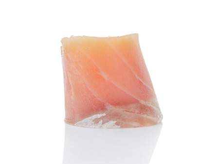 slightly: slice of cured salmon isolated