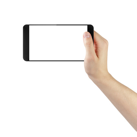 adult man hand taking photo with digitally created generic smartphone, isolated