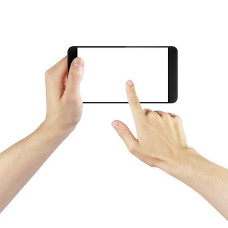 디지털 만든 일반적인 스마트 폰을 사용하는 성인 남자 손, 고립 된 스톡 콘텐츠