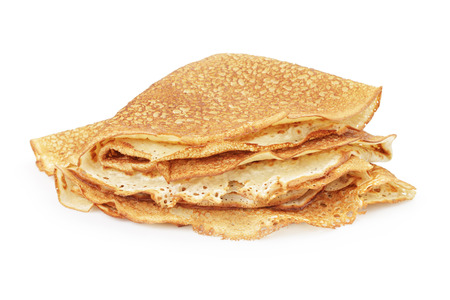fresh hot blinis or crepes isolated on white 写真素材