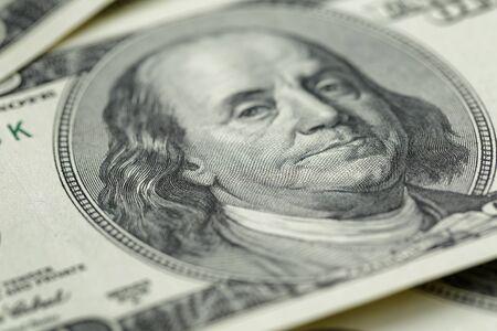 money saving: Benjamin Franklin on hundred dollar banknote, Stock Photo