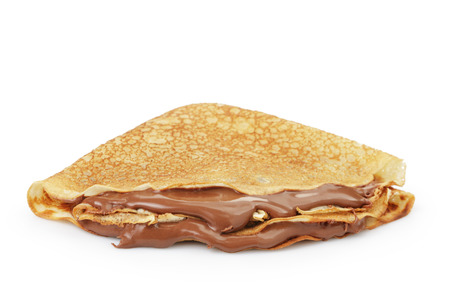 fresh hot blinis or crepes  with chocolate spread isolated on white Banque d'images